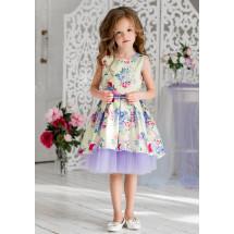 """Платье нарядное с перепадом длины ванильного цвета """"Элфрида"""""""