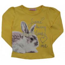 """Футболка желтая на девочку с длинным рукавом """"кролик"""""""