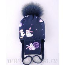 """Комплект синего цвета шапка зимняя с шарфом """"Зайки"""""""