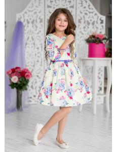 """Платье нарядное ванильного цвета с галогеновыми стразами """"Дженифер"""""""