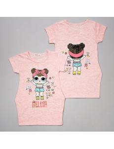 """Платье цвета розовый меланж с изображением куколки """"Сладкоежка"""""""