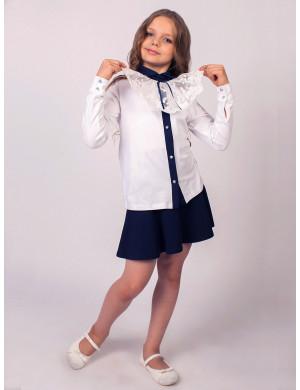 """Блузка для девочек белого цвета со съемным воротником """"Жабо"""""""
