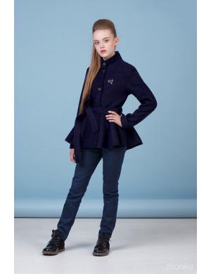 Комплект для девочек синего цвета (пальто с баской и брюки)